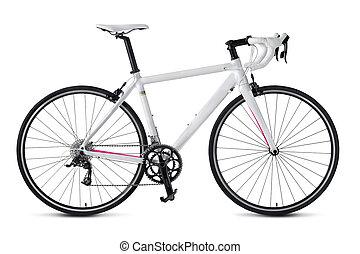 Race road bike isolated on white background.
