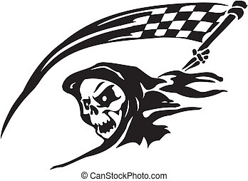 Race sign - vector illustration - Racing emblem - black and...