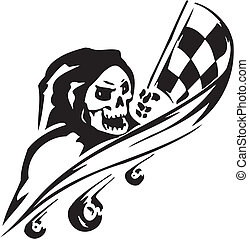 Race sign - vector illustration - Racing emblem - black and ...