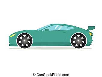 Race sport car. Supercar tuning auto Flat style vector transportation vehicle illustration isolated