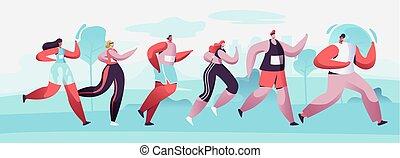 race., sportivi, femmina, sprint, sport, raw., maratona, gruppo, velocista, appartamento, corsa, illustrazione, correndo, caratteri, cartone animato, distanza, sportswomen, maratona, atleta, competition., jogging, vettore, maschio