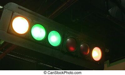 Race track signal lights - A medium shot of a race track...
