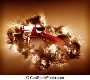 race voiture, effet, orage, 3d