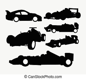 race voiture, silhouette, transport