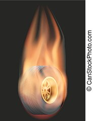 Race wheel with flame