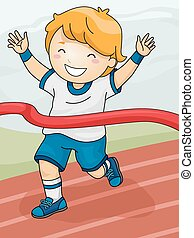 Race Winner - Illustration Featuring a Boy Winning a Race