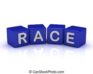 RACE word on blue cubes