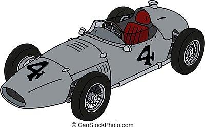 racecar, plata, clásico