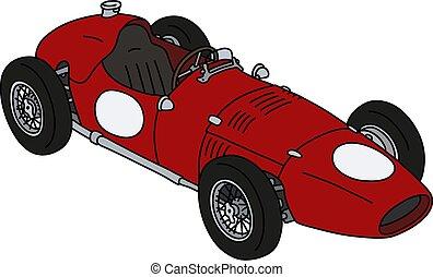 racecar, rojo, clásico