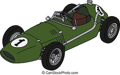 racecar, vert, classique