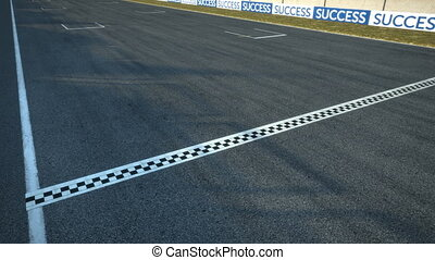 racecars crossing finishing line