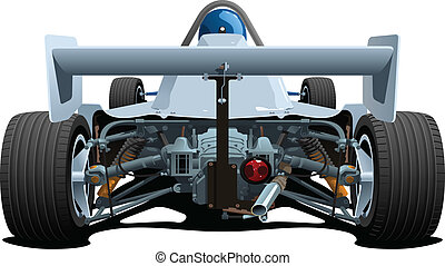 vector illustration of formula 1. Back elevation. (Simple gradients only - no gradient mesh.)