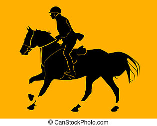 Racehorse running - Jockey man riding a horse illustration