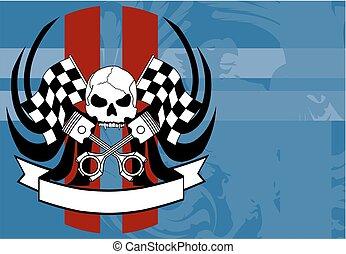 racer chopper skull tattoo insignia background1