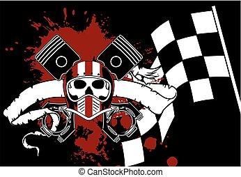 racer chopper skull tattoo insignia background2