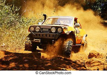 racer, op, terrein, het snelen auto, competitie