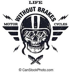 Racer skull in helmet.