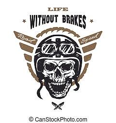 Racer skull in helmet. Vintage style.