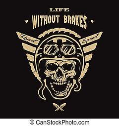 Racer skull in helmet, vintage style.
