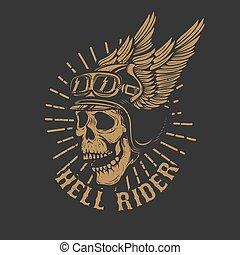 racer skull in winged helmet isolated on dark background. Design