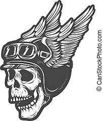 racer skull in winged helmet isolated on white background. Desig