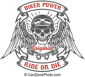 Racer skull with wings and two crossed pistons. Biker power. Rid