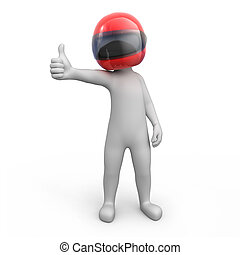 racer with thumb up