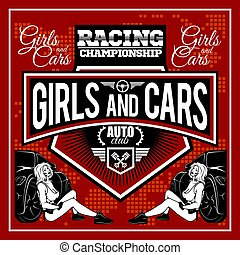 Racer woman design - Street Racing. Auto Motor Racing -...
