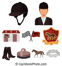 Races on horseback, hippodrome. Horse racing and equipping riders.Hippodrome and horse icon in set collection on cartoon style vector symbol stock illustration.