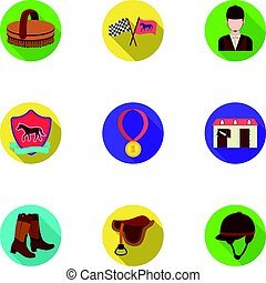 Races on horseback, hippodrome. Horse racing and equipping riders.Hippodrome and horse icon in set collection on flat style vector symbol stock illustration.