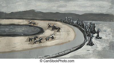 racetrack drawing, abstraction, horses on the track
