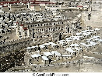 Racetrack, Lower Town, Robinson Arch. Model of ancient Jerusalem
