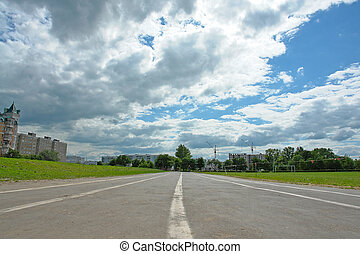 racetrack - Racetrack on a background of the cloudy sky