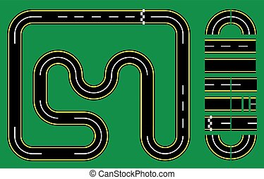 Racetrack Setup - Vector Illustration of Racetrack Template