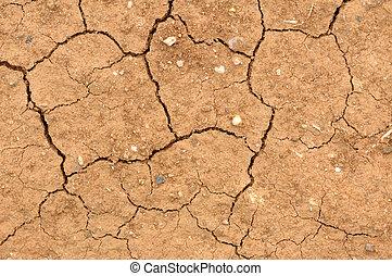 rachado, argila, solo, em, a, estação seca