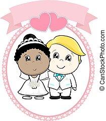 raciaal, begraven, spotprent, trouwfeest