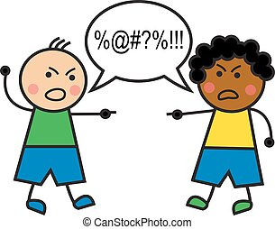 racial conflict - black man and caucasian man swear and ...