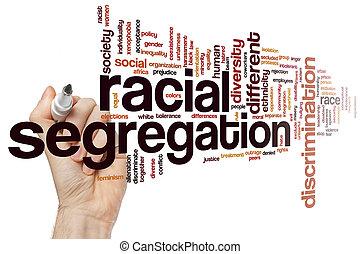 racial, mot, ségrégation, nuage