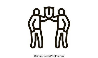 racial protection Icon Animation. black racial protection animated icon on white background