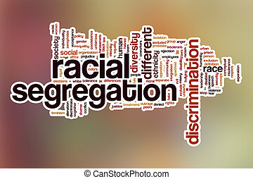 Racial segregation word cloud with abstract background