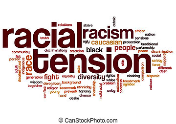 Racial tension word cloud - Racial tension concept word...