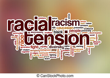 Racial tension word cloud with abstract background