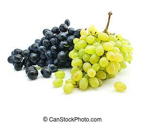 racimos, de, azul y verde, uva, aislado