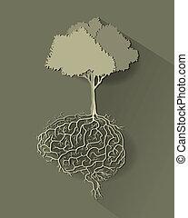 racine, vecteur, arbre, cerveau