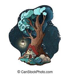racines, maison, magie, conte, illustration, arbre., vecteur, fée