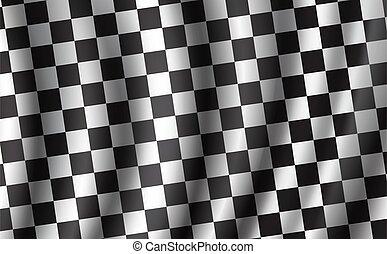 Racing and rally car checkered vector flag