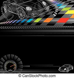 Racing Background - Car racing design in black. Vector...