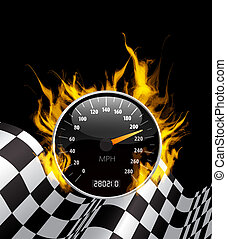 Racing Background with burning speedometer and checkered...