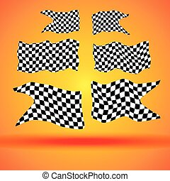Racing background with set collection of six checkered flags vector racing illustration