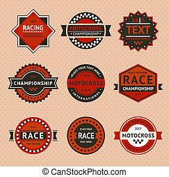 Racing badges - vintage style